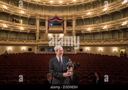 Former Soviet officer Stanislav Petrov holds the 'Dresden Prize' in the Semper Opera in Dresden,Germany, - Stock Image