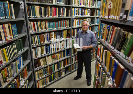 Archivist Mike Smith in the archives of Wayne State University's Walter P. Reuther Library of Labor and Urban - Stock Image