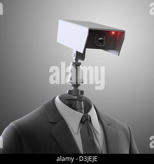 A robotic security camera - automated surveillance - Stock Image