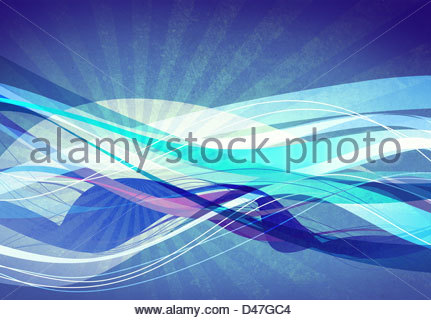 abstract blue wave - Stock Image