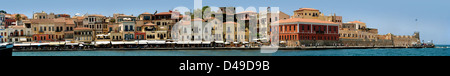 Panoramic view of Chania harbour, Crete - Stock Image