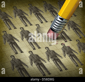Cutting staff and employee job reduction concept reducing costs at a business with a grunge texture image of business - Stock-Bilder