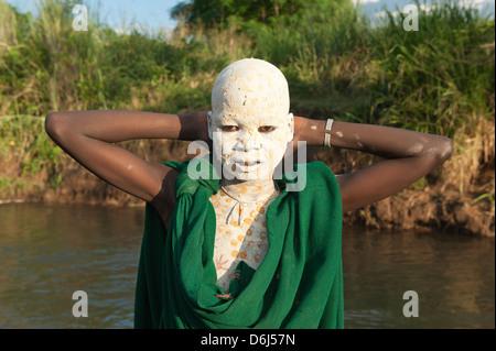 Surma boy with body paintings, Kibish, Omo River Valley, Ethiopia, Africa - Stock-Bilder