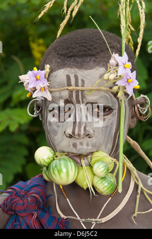 Surma child with body paintings, Tulgit, Omo River Valley, Ethiopia, Africa - Stock-Bilder