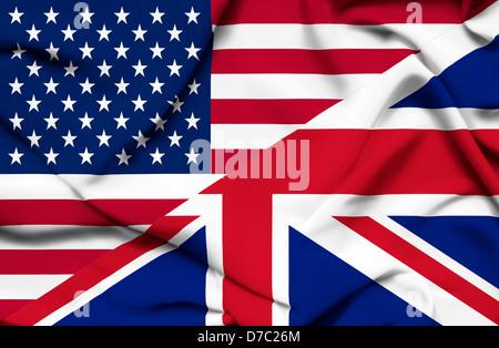 United States of America and United Kingdom waving flag - Stock Image