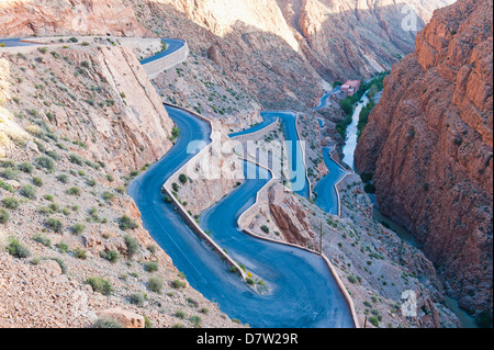 Steep winding road up the Dades Gorge, Dades Valley, Morocco, North Africa - Stock Image