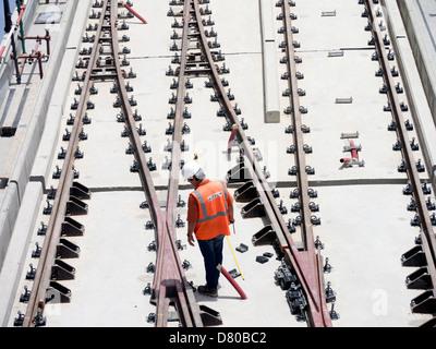 construction of new Al Sufouh tramway in Dubai United Arab Emirates - Stock Image