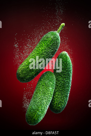 Beautiful cucumber close-up photo with carbon dioxide bubbles - Stock Image