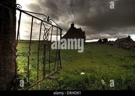 Ruined western isles cottage, Barvas Lewis, Western Isles , Scottish Highlands, Scotland, UK - Stock Image