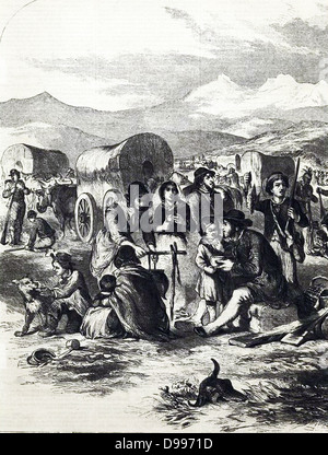 California emigrants. Pioneer life illustrated in 1856 - Stock Image