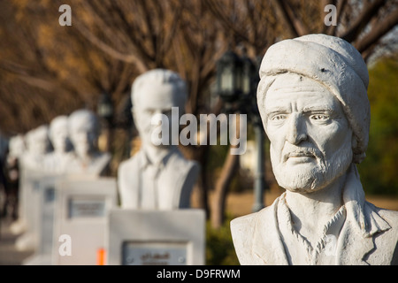 Statue alley in the Minare Park and Shanadar Park in Erbil (Hawler), capital of Iraq Kurdistan, Iraq, Middle East - Stock Image