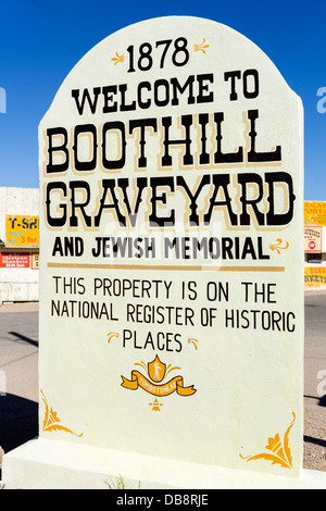 Marker outside Boothill Graveyard, Tombstone, Arizona, USA - Stock Image