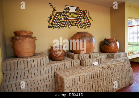 The remains of Huaca Pucllana, an ancient temple in the Miraflores district of Lima in Peru. - Stock Image