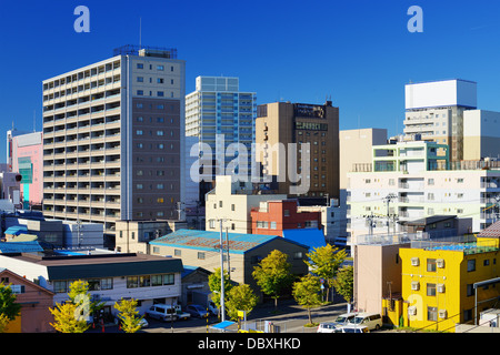 Buildings in downtown Aomori City, Japan. - Stock-Bilder