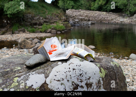 Rubbish Left Behind at the Teesdale Beauty Spot of Low Force by Vistors Swimming in the River During the Hot Weather - Stock Image