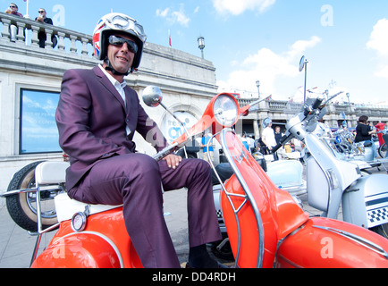 A two tone suit wearing Mod enjoying the Mod Scene and August Bank Holiday. - Stock Image