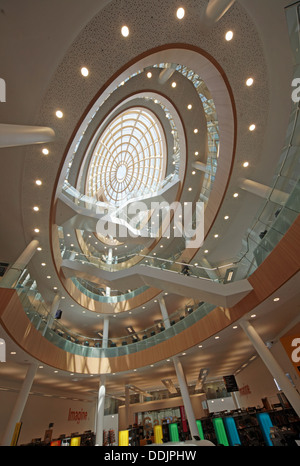 Wide angle view of the interior of the new Liverpool central library Merseyside England UK - Stock Image