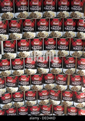 Tins of Scottish Food Grants Premium Haggis , stacked up - Stock Image