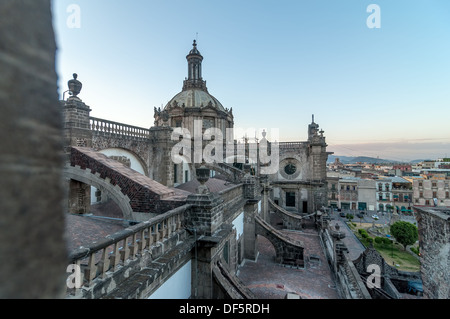 View from the roof of the cathedral in Mexico City in the late afternoon - Stock Image