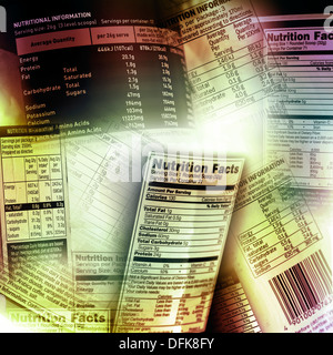 Nutrition information facts on assorted food labels - Stock Image