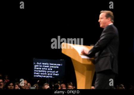 02/10/13 . Prime Minister David Cameron .The Prime Minister closes the Conservative Party Conference at Manchester - Stock Image