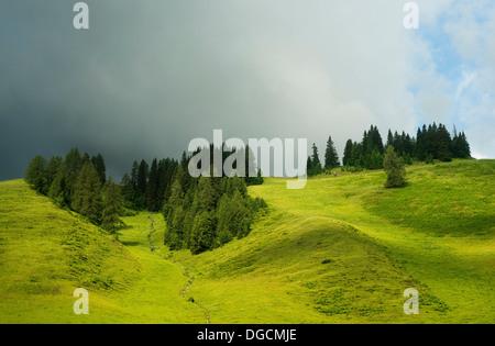Clouds over rolling landscape, Salzburg, Austria - Stock Image
