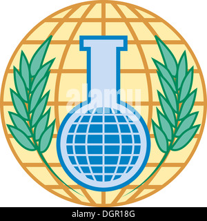 Logo of the Organisation for the Prohibition of Chemical Weapons OPCW with seat in The Hague. - Stock Image