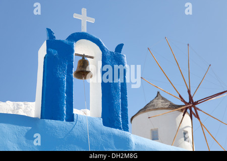 windmill and a cross with a bell, Santorini - Stock Image
