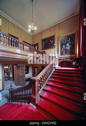 Staircase at the hall Dunham Massey house NT Near Altrincham Cheshire England UK WA14 4SJ - Stock Image
