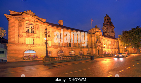 Walsall Town Hall municipal building at dusk / night , West Midlands , England , UK WS1 1TW - Stock Image