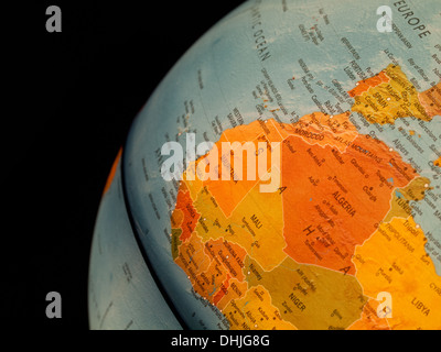 A view of Mali, Algeria and West Africa on a beautiful, illuminated globe. - Stock Image