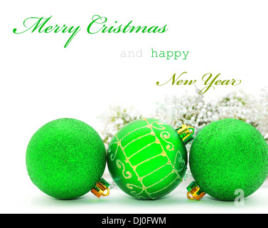 Sample Of Christmas Wishes. Christmas Greeting Card Green Baubles