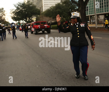 Master Gunnery Sgt. Rongalett Green waves to the crowd during the third annual Bayou Classic Parade on Nov. 28, - Stock Image