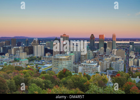 Autumn Canada North America Montreal Quebec architecture city colours downtown hill landscape skyline skyscrapers - Stock Image