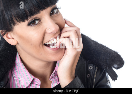 Shy Embarrassed Young Woman - Stock Image