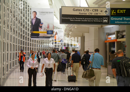 New Jersey Newark Newark Liberty International Airport EWR terminal concourse gate area sign information connecting - Stock Image