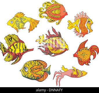 Motley tropical fish. Set of color vector illustrations. - Stock-Bilder
