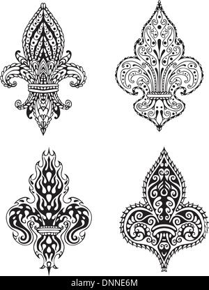 Fleur-de-lis (French Lilies of Bourbons). Set of black and white vector illustrations. - Stock-Bilder