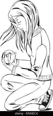 Anime girl with love message. Black and white vector illustration. - Stock-Bilder