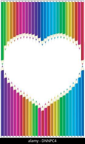Color pencils heart shaped - Stock-Bilder