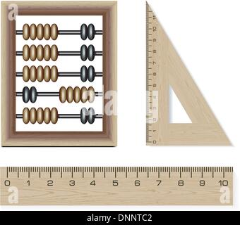 wooden abacus and rulers isolated on white background - Stock-Bilder