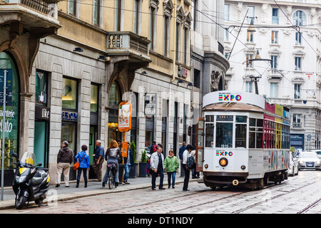 Tram at the city centre, Milan, Lombardy, Italy, Europe - Stock Image