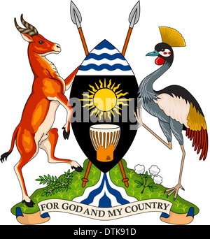 National coat of arms of the Republic of Uganda. - Stock Image