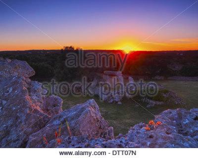 Sunset over Talati de Dalt on Menorca, Balearic Islands, Spain - Stock Image
