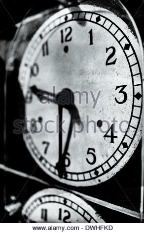 Detail of railway locomotive clocks, England, United Kingdom. - Stock Image