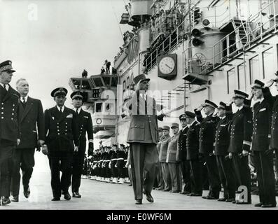 Oct. 12, 1962 - General de Gaulle is seen here reviewing the Clemenceau Company along with Admiral Laine, Messmer, - Stock Image