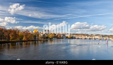 The Prague Castle and the Charles bridge - Stock Image