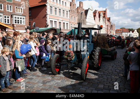 Tractor at  Kopefest parade, Lueneburg, Lower Saxony, Germany, Europe - Stock Image