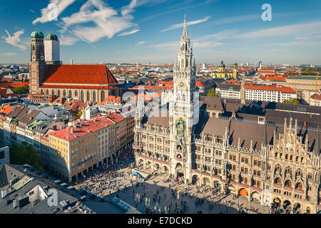 Aerial view on the historic center of Munchen - Stock Image