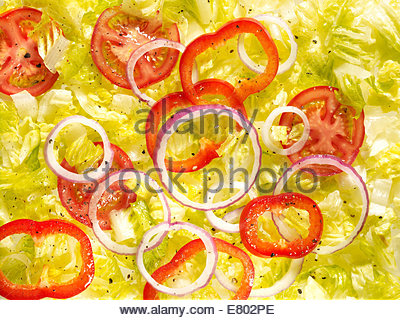 fresh vegetable salad of lettuce, tomato & onions - Stock Image